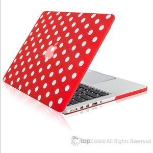 Polka Dot Design Red Rubberized Hard Case